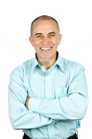 Smiling man with arms crossed stock photo, Portrait of smiling middle aged man isolated on white background by Elena Elisseeva