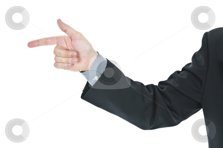 Man pointing finger stock photo, Hand of a business man pointing finger by Elena Elisseeva