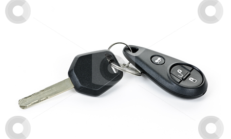 Car keys isolated on white stock photo, Car key and keychain fob isolated on white background by Elena Elisseeva