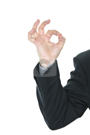 Man giving okay sign stock photo, Business man giving okay sign hand gesture by Elena Elisseeva