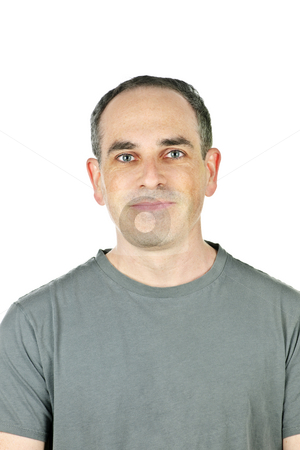 Smiling man stock photo, Portrait of casual smiling man in t-shirt by Elena Elisseeva