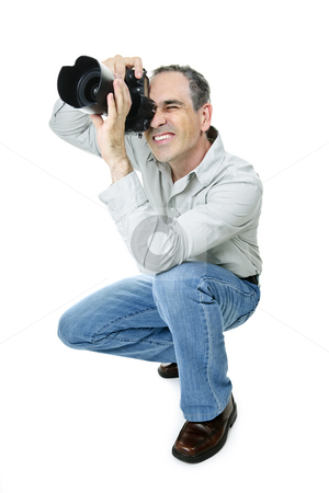 Photographer with camera stock photo, Portrait of male photographer with camera isolated on white background by Elena Elisseeva