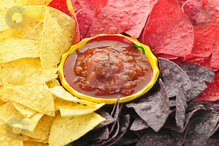 Tortilla chips and salsa stock photo, Bowl of salsa with colorful tortilla chips by Elena Elisseeva