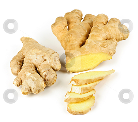 Ginger root stock photo, Sliced ginger root spice isolated on white background by Elena Elisseeva
