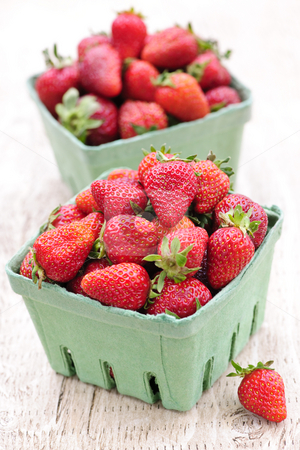 Strawberries stock photo, Two containers of fresh organic red strawberries by Elena Elisseeva
