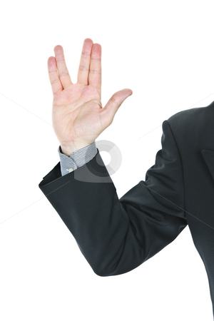 Man giving Vulcan salute stock photo, Business man giving Vulcan greeting from Star Trek by Elena Elisseeva