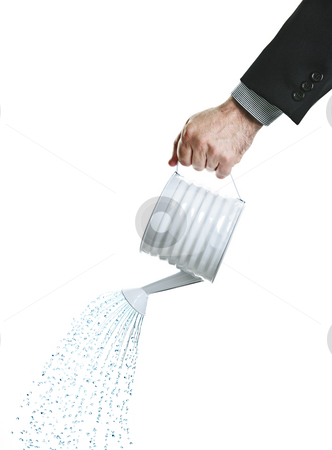 Hand pouring water from watering can stock photo, Hand of a businessman pouring water from watering can by Elena Elisseeva