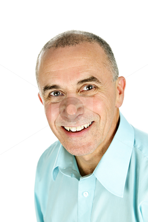Smiling man on white background stock photo, Portrait of smiling middle aged man isolated on white background by Elena Elisseeva
