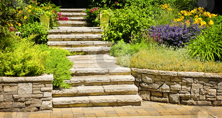 Natural stone landscaping stock photo, Natural stone landscaping in home garden with stairs by Elena Elisseeva