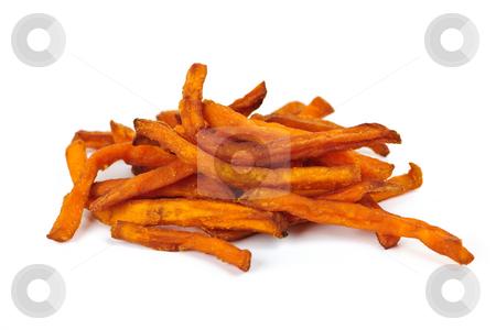 Sweet potato fries stock photo, Pile of sweet potato or yam fries isolated on white background by Elena Elisseeva