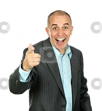 Man pointing and laughing stock photo, Portrait of smiling pointing businessman isolated on white background by Elena Elisseeva