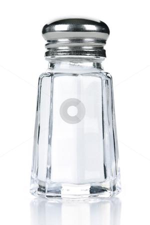 Salt shaker stock photo, Glass salt shaker isolated on white background by Elena Elisseeva
