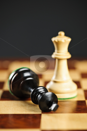 Checkmate in chess stock photo, Closeup of checkmate on king by queen winning in chess game by Elena Elisseeva