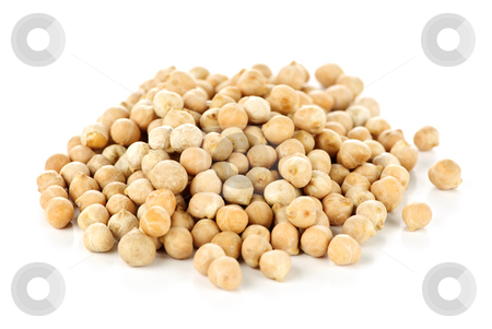 Chickpeas stock photo, Dry raw organic chickpeas isolated on white background by Elena Elisseeva