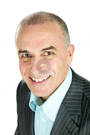 Businessman on white background stock photo, Portrait of smiling businessman isolated on white background by Elena Elisseeva