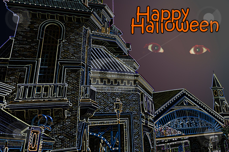 Scary halloween castle stock photo, Scary Halloween castle by Gunter Nezhoda