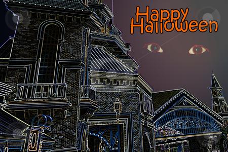 Scary halloween castle stock photo, Scary Halloween castle by Gunter Nezhoda