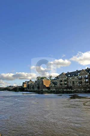 Modern Apartments on the River Ouse in York stock photo, Modern Apartments on the River Ouse in York UK by Chris Green