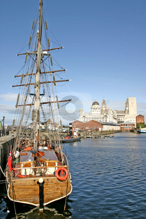 Liverpool Ships in Dock stock photo, Two Liverpool Ships in Dock UK England by Chris Green