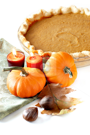 Pumpkin pie stock photo, Still life with fresh pumpkin pie by HD Connelly