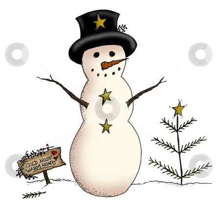 Primitive Snowman stock photo, A country snowman and primitive Christmas tree in a holiday scene by Neeley Spotts