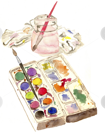 Watercolor Sketch stock photo, A watercolor sketch of ... well... watercolors with brush in water jar and paint rag. by Neeley Spotts