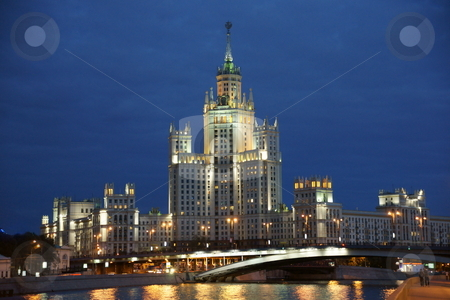 Moscow, A kind on Kotelnichesky quay stock photo, The house on quay with illumination by Kirill Serkov