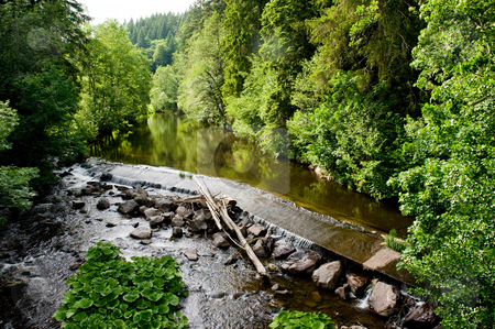 Water weir stock photo, Calm river in the forest plashes over a weir by Herb Allgaier