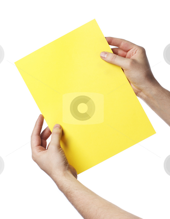 Yellow letter stock photo, Man holding a yellow paper by Stocksnapper