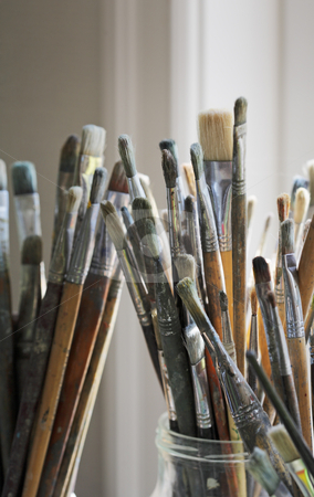 Artist's brushes stock photo, Old and dirty artist's brushes by Stocksnapper