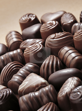 Chocolates stock photo, Assorted chocolate pralines by Stocksnapper
