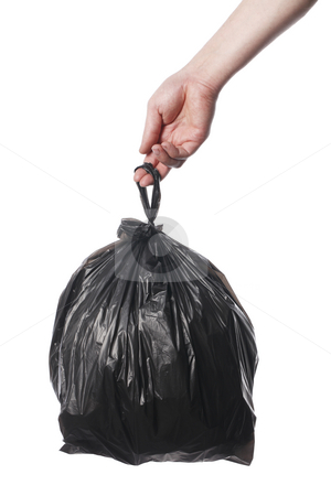 Trash bag stock photo, Man holding black plastic trash bag in his hand by Stocksnapper