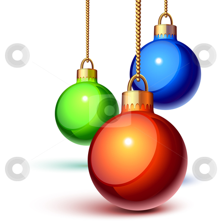 Christmas ornaments stock vector clipart, Christmas ornaments hanging over white by Laurent Renault