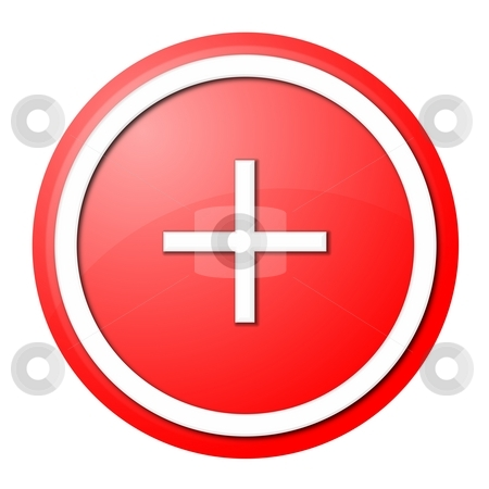 Red plus button stock photo, Round plus button with white ring for web design and presentation by Henrik Lehnerer