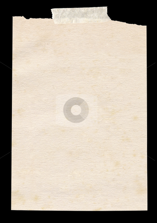 Isolated old piece of paper stuck to a black background. stock photo, Isolated old piece of paper stuck to a black background. by Stephen Rees