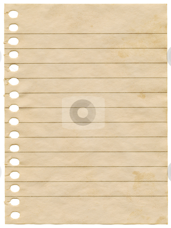 Old dirty stained blank notepaper page isolated on a white background. stock photo, Old dirty stained blank notepaper page isolated on a white background. by Stephen Rees