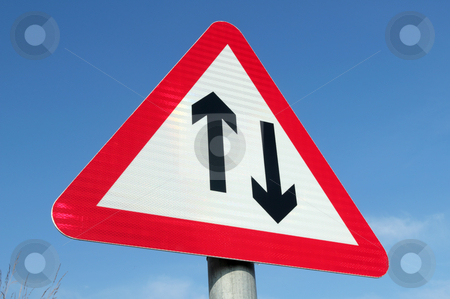 British two way traffic ahead sign. stock photo, British two way traffic ahead sign. by Stephen Rees