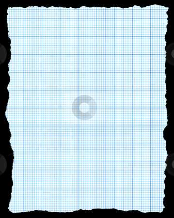 Torn blue graph paper isolated on a black background. stock photo, Torn blue graph paper isolated on a black background. by Stephen Rees