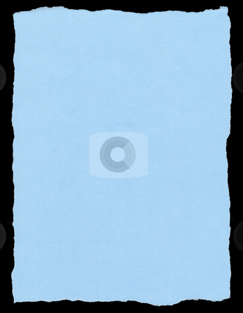 Blue color torn paper page isolated on a black background. stock photo, Blue color torn paper page isolated on a black background. by Stephen Rees