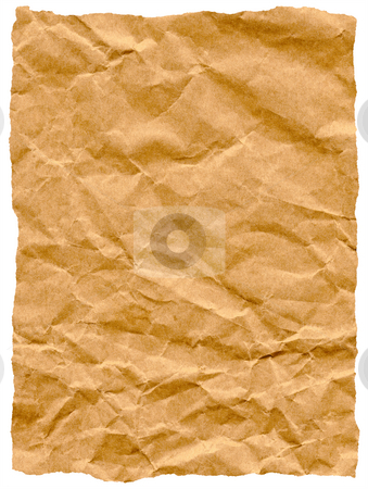 Old torn crumpled paper bag texture isolated on white. stock photo, Old torn crumpled paper bag texture isolated on white. by Stephen Rees