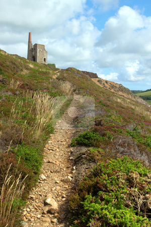 Path to Tywarnhayle tin mine engine house near Porthtowan, Cornwall UK. stock photo, Path to Tywarnhayle tin mine engine house near Porthtowan, Cornwall UK. by Stephen Rees