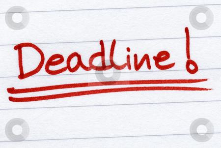 Deadline written in red on white paper. stock photo, Deadline written in red on white paper. by Stephen Rees