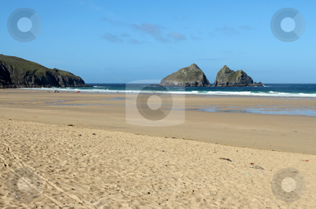Holywell Bay sandy beach and Carter's rocks, Cornwall UK. stock photo, Holywell Bay sandy beach and Carter's rocks, Cornwall UK. by Stephen Rees