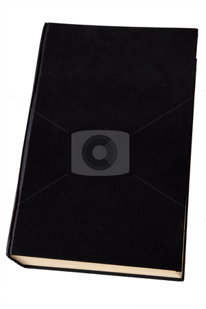 Old black hardback book isolated on white. stock photo, Old black hardback book isolated on white. by Stephen Rees