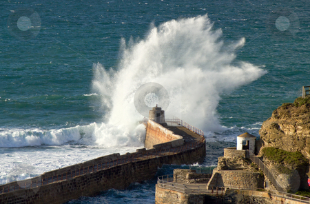Big wave splash on Portreath pier, Cornwall UK. stock photo, Big wave splash on Portreath pier, Cornwall UK. by Stephen Rees