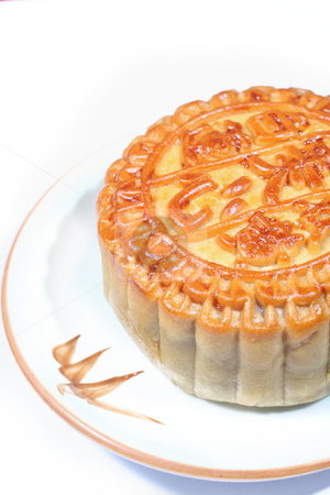Moon cakes on dish  stock photo, Chinese tradition food moon cakes on dish by Keng po Leung