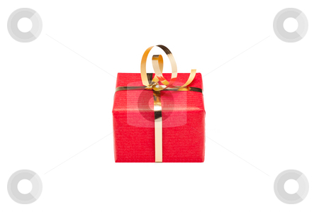 Red and Gold Xmas Gift Box stock photo, Single small red and gold gift box for Xmas by Timothy Hodgkinson