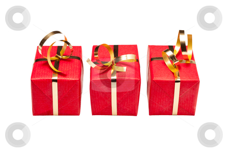 Trio of Red and Gold Xmas Gift Boxes stock photo, Three small green and gold gift boxes for Xmas by Timothy Hodgkinson