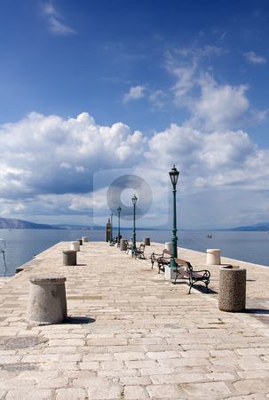 Pier stock photo, Stone pier in a small Mediterranean town by Gordan Poropat