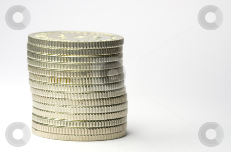 Stack of coins stock photo, Stack of coins on white background by Gordan Poropat